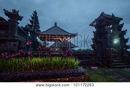 Balinese temple Pura Besakih at twilight. Indonesia