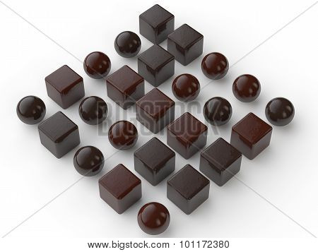 3d chocolate balls and cubes