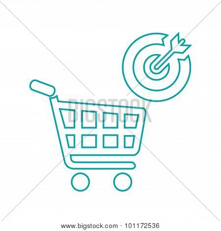 Target Market - Vector - Button - Stock Illustration - Target market concept icon - Shopping cart ic