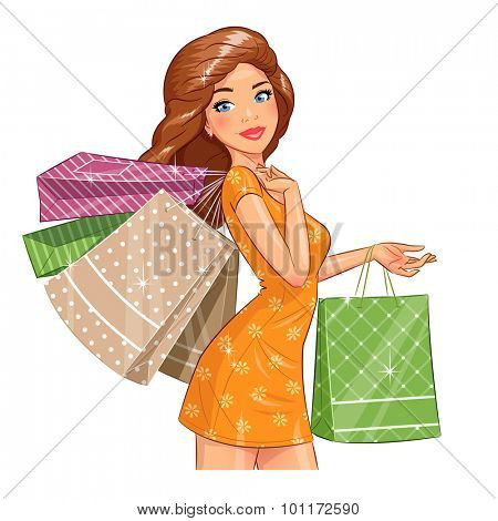 Beautiful girl with packages. Shopping. Eps10 vector illustration. Isolated on white background