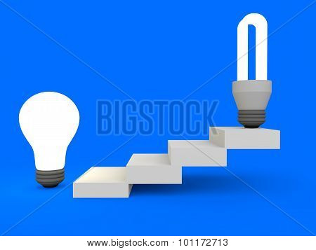 3d tungsten and fluorescent bulbs