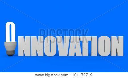 3D fluorescent bulb word innovation