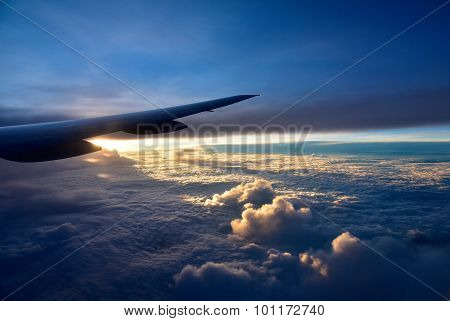 Aircraft Wings Above The Clouds.horizontal View.