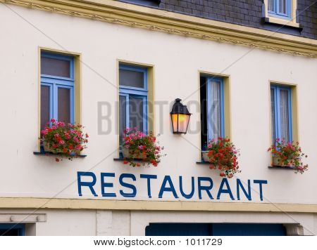 Restaurant In French Town With Restaurant Written On Wall