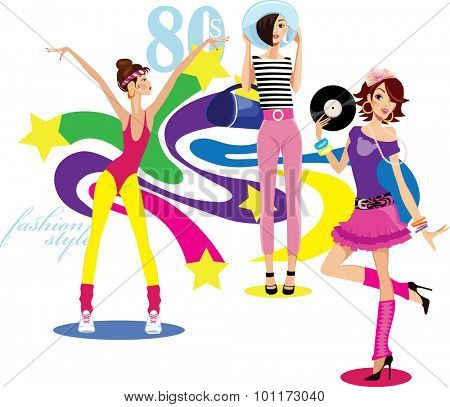 girls dressed in the style of disco style