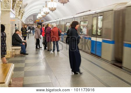 Moscow, Russia -27.04.2015. Subway Stations Prospekt Mira. Moscow Metro Carries Over 7 Million Passe
