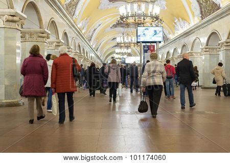 Moscow, Russia -27.04.2015. Subway Stations Komsomolskaya. Moscow Metro Carries Over 7 Million Passe