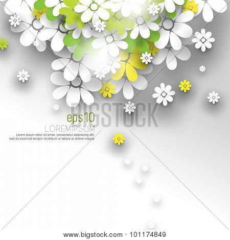 overlapping white green and yellow paper flower blossoms nature silhouette leaflet brochure, eps10 vector illustration