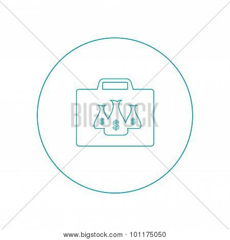 Money Case With The Dollar Sign. Money Vault Concept Icon. Stock Illustration Flat Design Icon. Vect