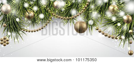 Winter banner with spruce twigs and golden baubles. Christmas vector illustration with place for text.