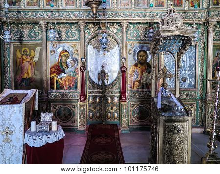 Jerusalem, Israel - July 13, 2015: The Interior Of The Orthodox Church. John The Baptist In Jerusale