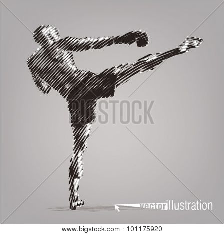 Kick boxer. Vector artwork in the style of ink drawing