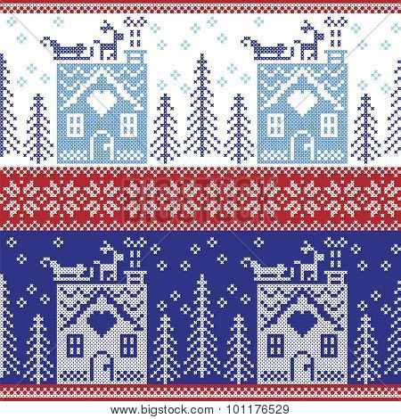 Scandinavian Nordic Christmas seamless  pattern with gingerbread house, snow, reindeer, Santa's  sle