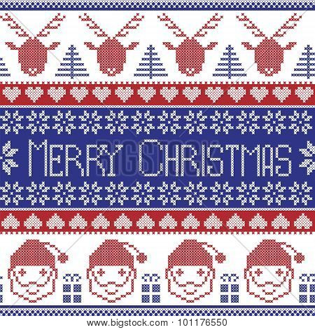 Dark blue and red Scandinavian Merry Christmas pattern with Santa Claus, xmas presents, reindeer, de