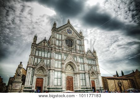 Santa Croce Cathedral Under A Dramatic Sky In Florence