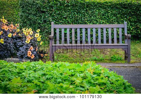 Wooden Chair On The Grass In The Garden