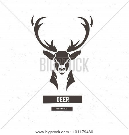 Stylized Deer Head. Artistic Design Element For Logotype, Label, Badge, T-shirts And Other Design. V