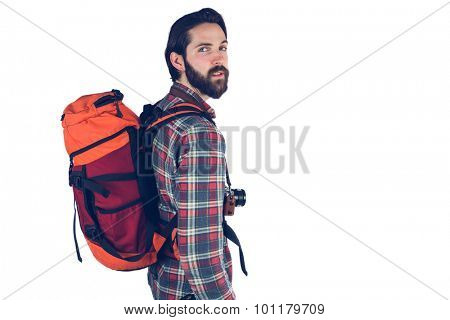 Portrait of hiker against white background