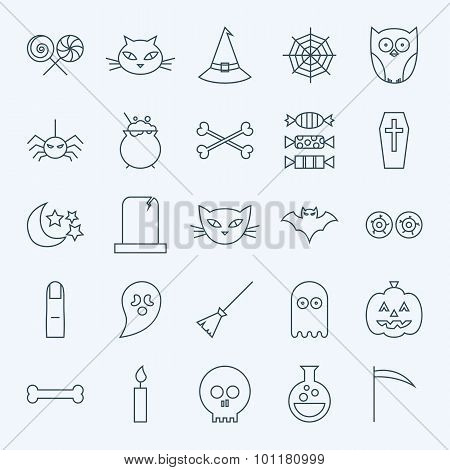 Line Holiday Halloween Icons Set