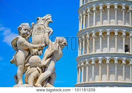 Putti Fountain In Piazza Dei Miracoli In Pisa