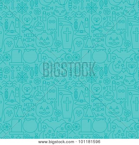 Thin Line Halloween Holiday Seamless Blue Pattern