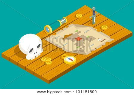 Isometric Pirate Treasure Adventure Game RPG Map Action Knife dagger Spyglass Skull Compass Icon Sym