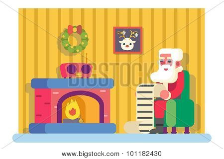 New Year Santa Claus Fireplace Armchair Hold Children Gift List Room Christmas Icon Greeting Card Fl