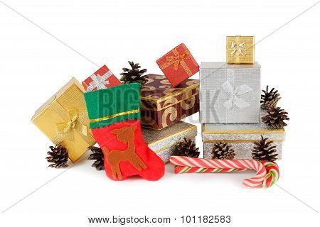 Christmas Presents And Christmas Sock Isolated On White
