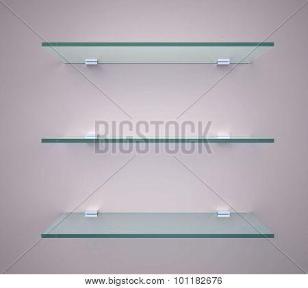 Empty Glass Shelves