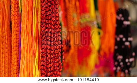Multi color hanging threads