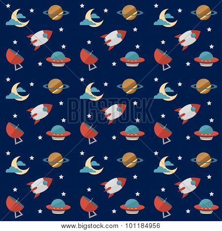 Seamless Space Pattern With Rockets, Planets, Stars, Scopes,moon, Observatory And Others Equipments