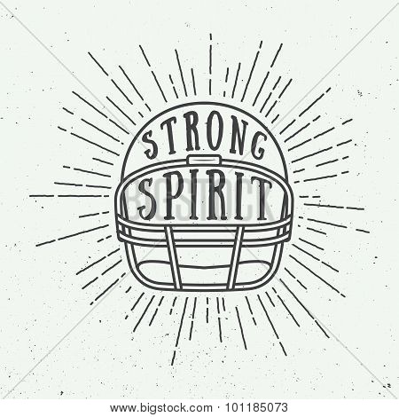 Vintage American Football Or Rugby Helm With Motivation Slogan.
