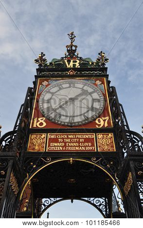 clock tower chester blue sky time memory concept