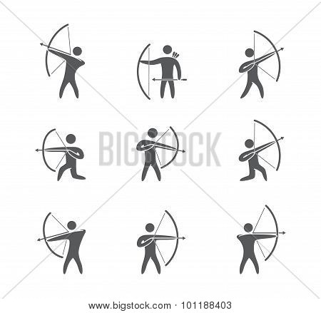 Silhouettes of figures archer icons vector set