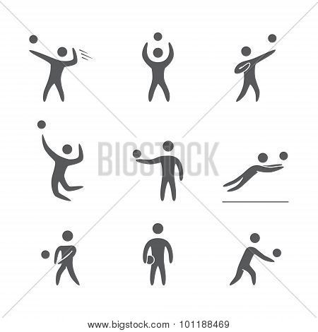 Silhouettes of figures volleyball players icons set