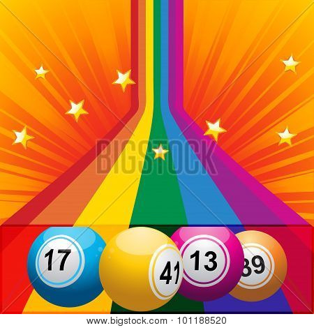 Bingo Balls Coming Out From A Rainbow