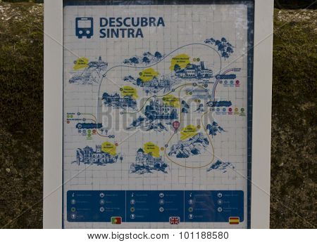 Sintra, Portugal - October 25 2014: Sintra Bus Stop Board With All The Landmarks To See In The City