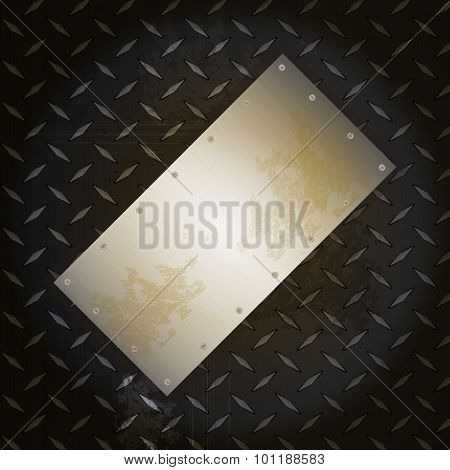 Black Metallic Diamond Plate With Grunge Brushed Metal Panel
