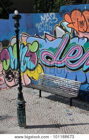 A Bench In Calcada Do Lavra Street