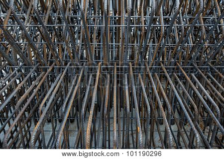 Artistic steel bars closeup, reinforcement on construction site, editable background.