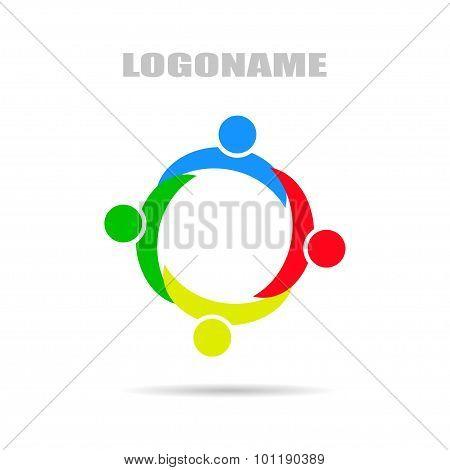 Logo company with Synergy , flat design on white background