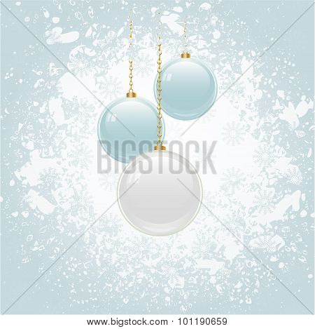 Grunge Christmas Background With Blue And White Baubles