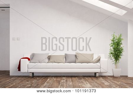 Space for canvas on wall in living room over a sofa (3D Rendering)