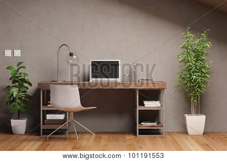 Laptop computer with empty black monitor on a desk in office (3D Rendering)