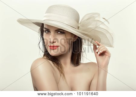 Woman In White Hat