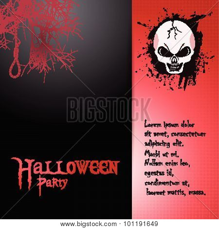 Halloween Invite With Skull And Text