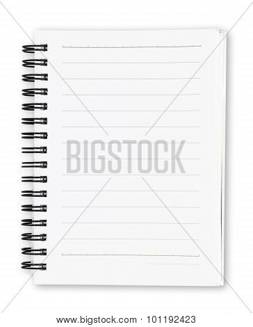 white notebook isolated on white background