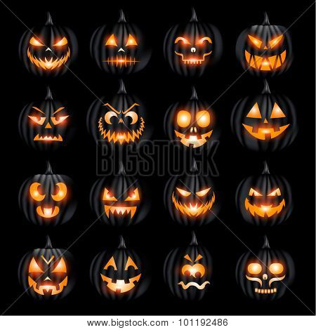 Creepy Halloween jack o lantern pumkin face collection