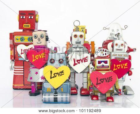 retro robots in love