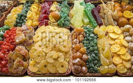 Candied Fruit At La Boqueria, Barcelona, Spain